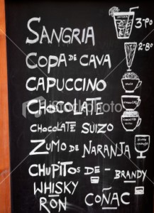 cultural immersion travel - Menu Board in Spain